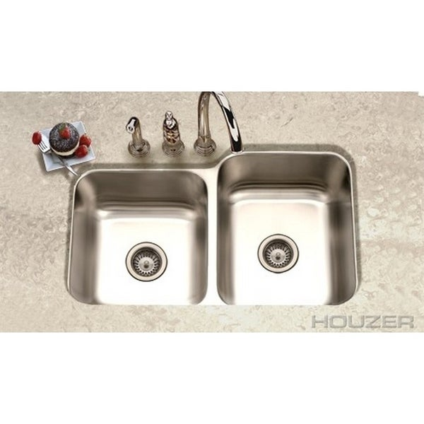 shop houzer elite satin 20-gauge stainless steel 8-inch-deep 60/40