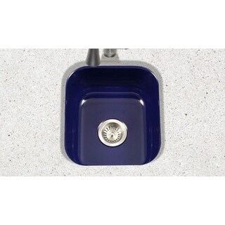 Houzer Porcela Navy Blue Porcelain Enamel 8-inch Deep Single Bar/Prep Sink