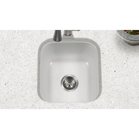 Houzer White Porcelain Enamel 8-inch Deep Single Box Pack Bar/Prep Sink