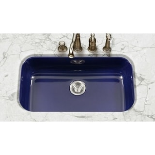 Houzer Porcela Houzer Navy Blue Porcelain Enamel Large 9-inch Deep Bathroom Sink Box Pack