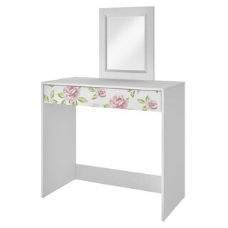 Accentuations by Manhattan Comfort Victoria White Vanity with Mirror