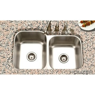 Houzer Eston Stainless Steel 16-gallon 60/40 Double Bowl Single Pack Undermount Kitchen Sink
