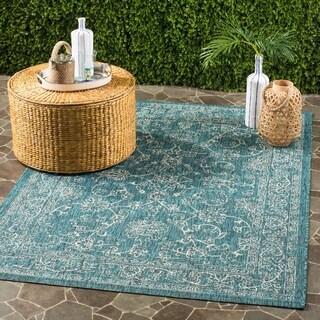 Safavieh Indoor / Outdoor Courtyard Turquoise Rug (5' x 8')