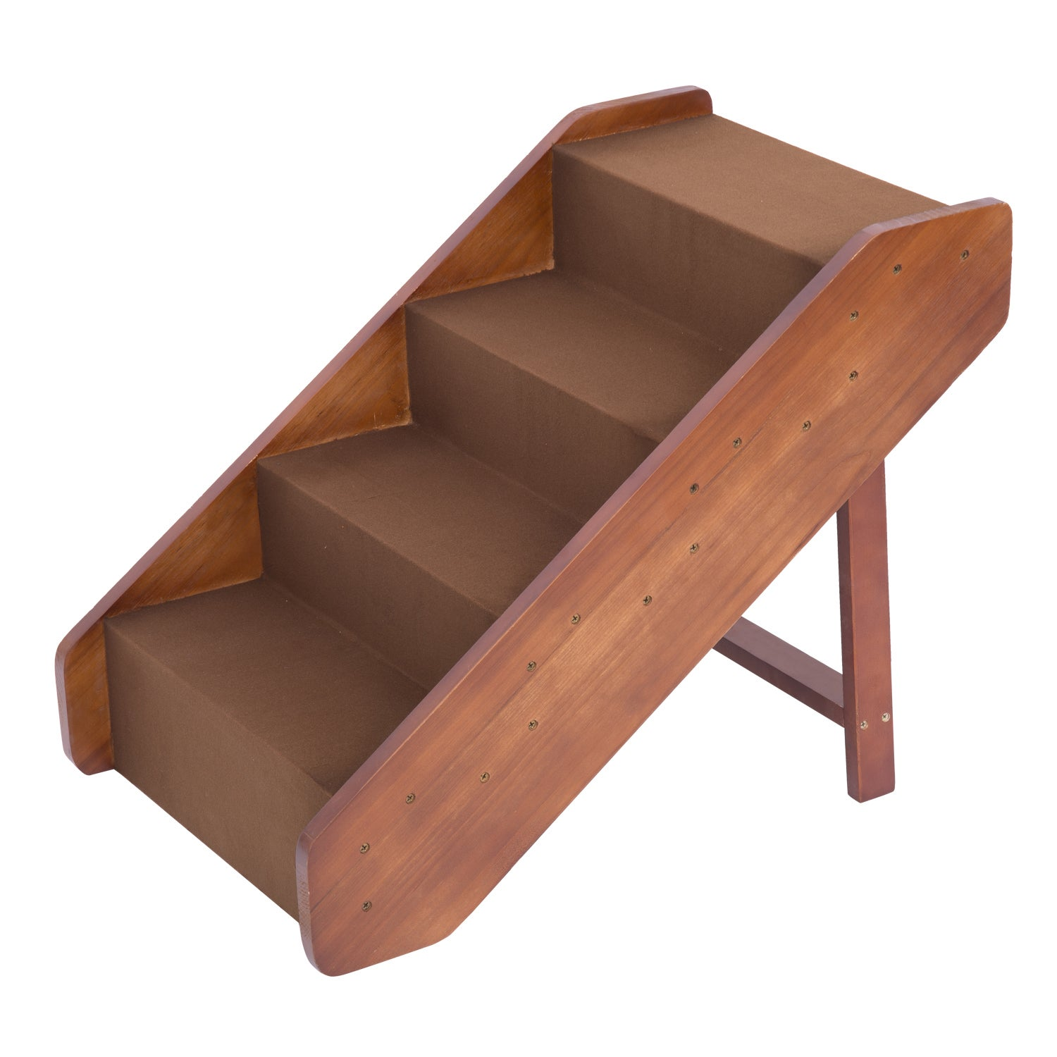 Aosom Pawhut 4-Step Indoor Folding Wooden Pet Stairs (bro...