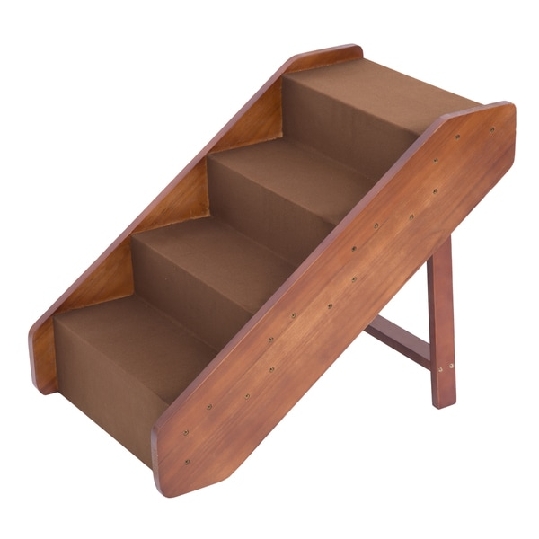 Pawhut Wooden 4 Step Indoor Folding Pet Stairs