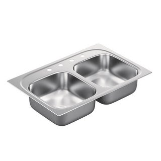 Moen 2000 Series 20-gauge Stainless Steel Double Bowl Drop-in Sink