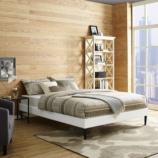 Modway Sherry White Wood and Vinyl Tound Tapered-legs Bed Frame