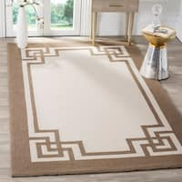 Safavieh Hand-hooked Four Seasons Greek Key Off White / Mocha Rug - 5' x 8'