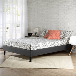 Priage Essential Grey Upholstered Full-size Platform Bed Frame with Wood Slat Support