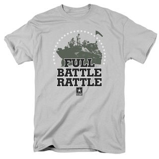 Army/Full Battle Rattle Short Sleeve Adult T-Shirt 18/1 in Silver