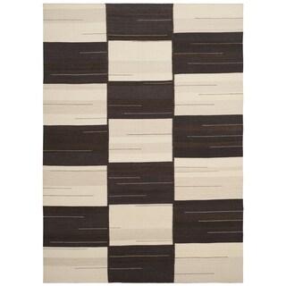 Safavieh Hand-Woven Kilim Flatweave Beige / Brown Wool Rug (5' x 8')