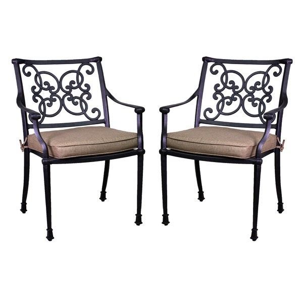 Azusa Antique Bronze Aluminum/Sunbrella Dining Chairs (Set Of 2)