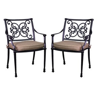 Azusa Antique Bronze Aluminum/Sunbrella Dining Chairs (Set of 2)