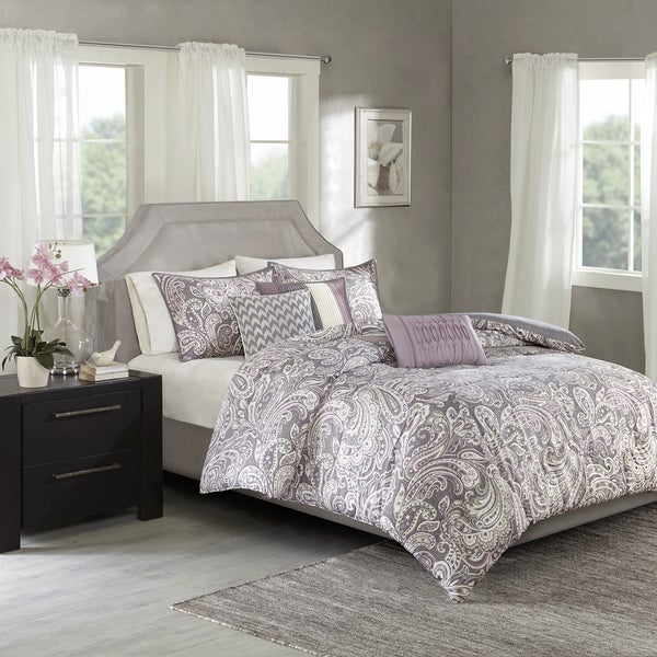 Shop Madison Park Lira Purple Cotton Sateen Printed Duvet