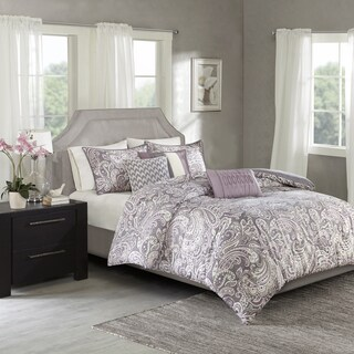 Madison Park Lira Purple Cotton Sateen Printed Duvet Cover Set
