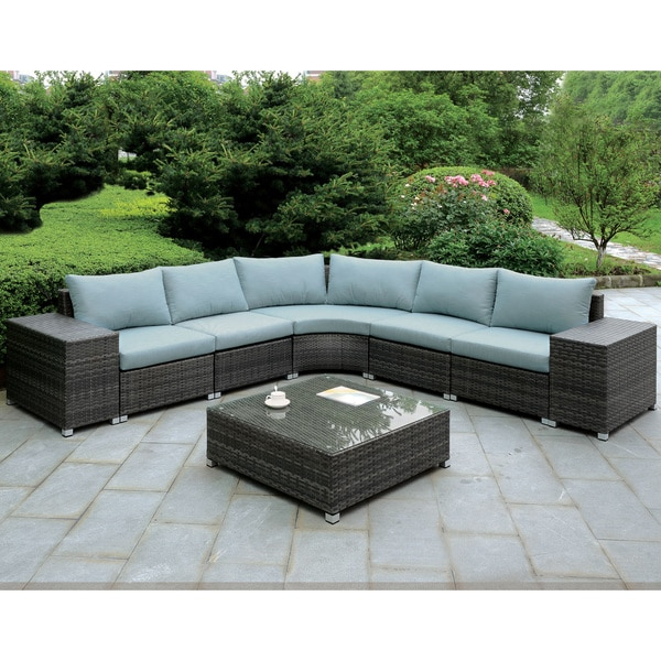 shop furniture of america griffith modern 8 piece dark grey modular patio l shaped sectional and. Black Bedroom Furniture Sets. Home Design Ideas