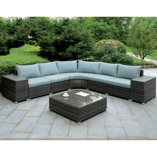 Furniture of America Griffith Modern 8-piece Dark Grey Modular Patio L-Shaped Sectional and Coffee Table Set