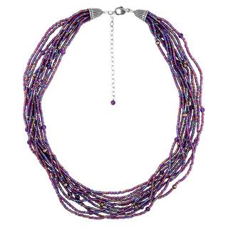 Sterling Silver 10-strand Amethyst and Seed Bead Necklace - Purple