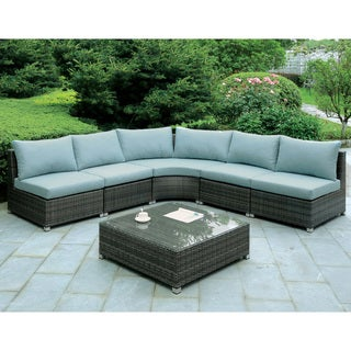 Furniture of America Griffith Modern 6-piece Dark Grey Modular Patio Sectional and Coffee Table Set