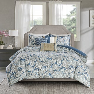 Madison Park Lira Blue Cotton Sateen Printed Duvet Cover Set