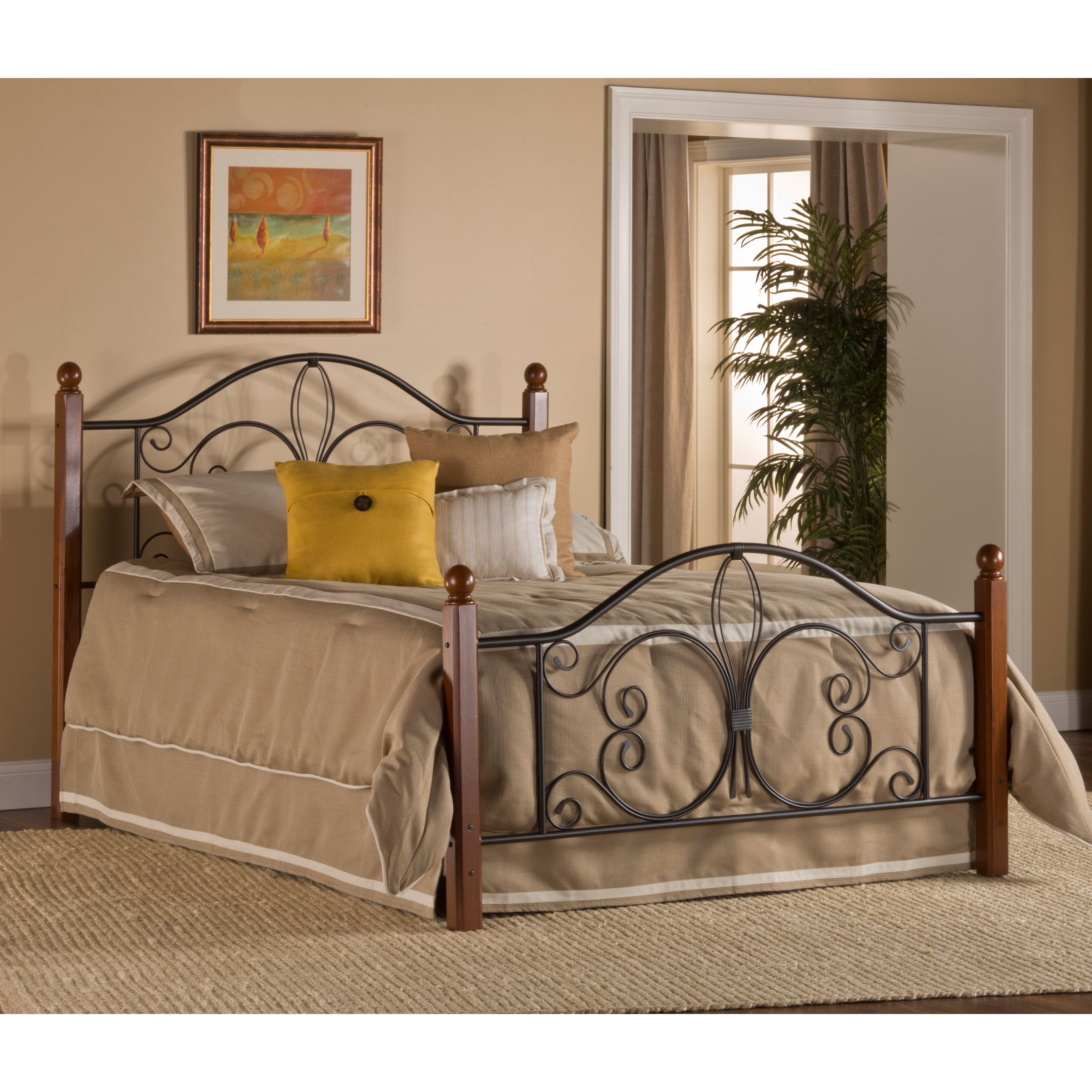 Hillsdale Milwaukee Wood Post Bed with Rails (Queen), Black