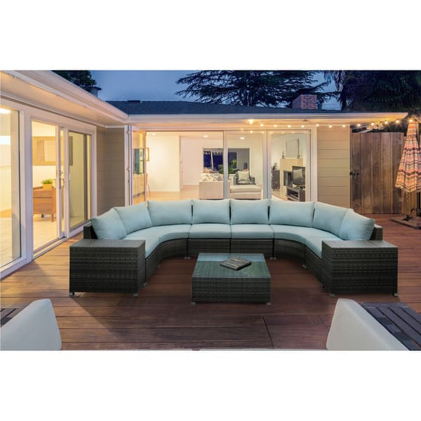 Furniture Of America Griffith Modern 9 Piece Dark Grey Modular Patio U Shaped Sectional And Coffee Table Set Overstock 12675960