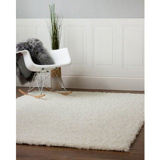 Machine Woven Cozy Solid Shag Rug (3-feet 3-inches x 5-feet 3-inches)