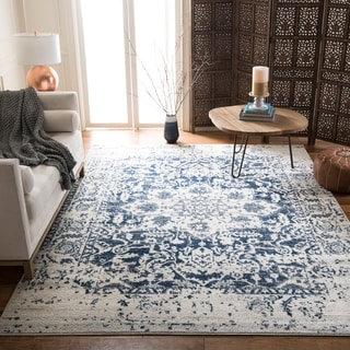 Safavieh Madison Vintage Medallion Cream/ Navy Distressed Rug (5' x 8')