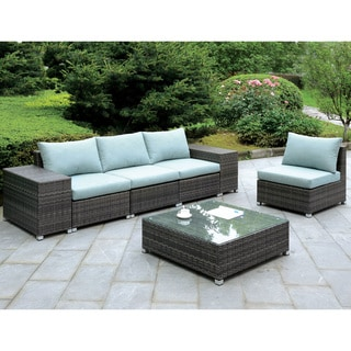 Furniture of America Griffith Modern 7-piece Dark Grey Modular Patio Seating Set