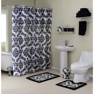 12 Piece Damask Bath In A Box Ensemble (Option: Black)