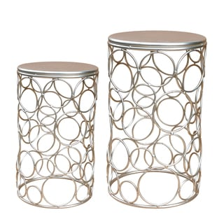 Jeco Champagne Metal Round Side Tables (Set of 2)