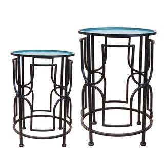 Jeco Metal Round Side Table (Set of 2)