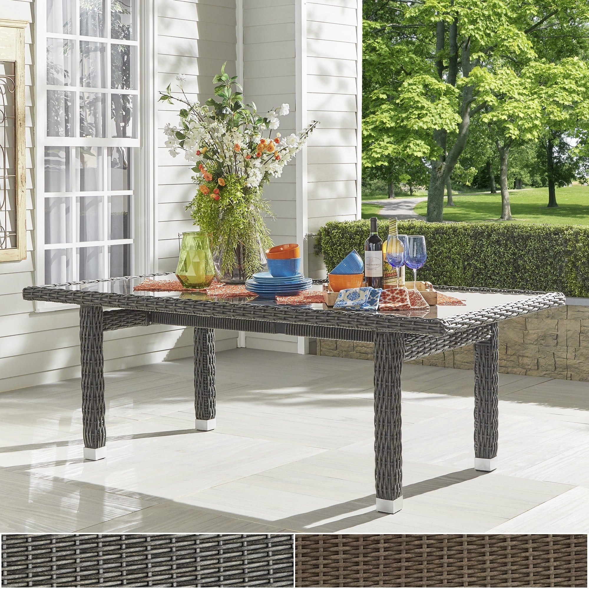 Barbados Wicker Glass Top Rectangular Dining Table iNSPIR...