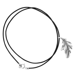 Sterling Silver Oak Leaf Leather Cord Necklace