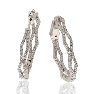 Suzy Levian Sterling Silver Cubic Zirconia Pave Hoop Earrings