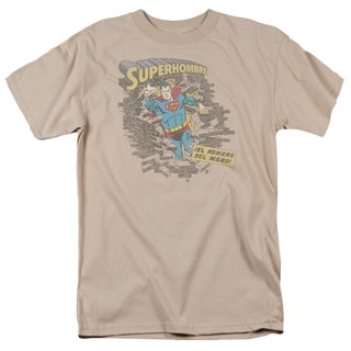 Superman/Superhombre 2 Short Sleeve Adult T-Shirt 18/1 in Sand