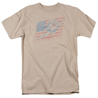 Superman/Vintage Short Sleeve Adult T-Shirt 18/1 in Sand