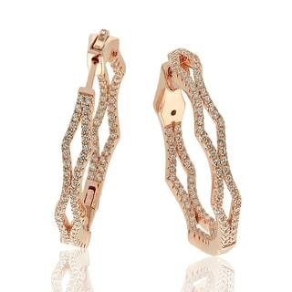 Suzy Levian Rosed Sterling Silver Cubic Zirconia Pave Hoop Earrings