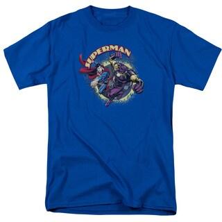 Superman/Superman Vs Mongol Short Sleeve Adult T-Shirt 18/1 in Royal