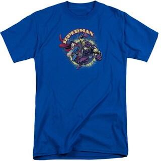 Superman/Superman Vs Mongol Short Sleeve Adult T-Shirt Tall in Royal