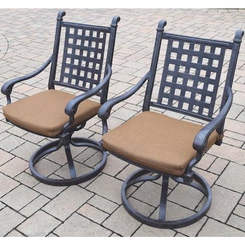 Sunbrella Antique Black Aluminum Swivel Rocking Chairs (Set of 2)