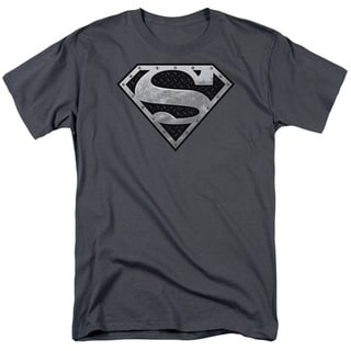 Superman/Super Metallic Shield Short Sleeve Adult T-Shirt 18/1 in Charcoal