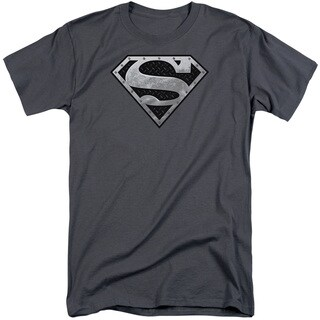 Superman/Super Metallic Shield Short Sleeve Adult T-Shirt Tall in Charcoal