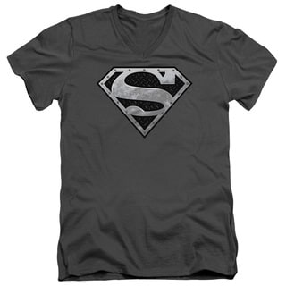 Superman/Super Metallic Shield Short Sleeve Adult T-Shirt V-Neck in Charcoal