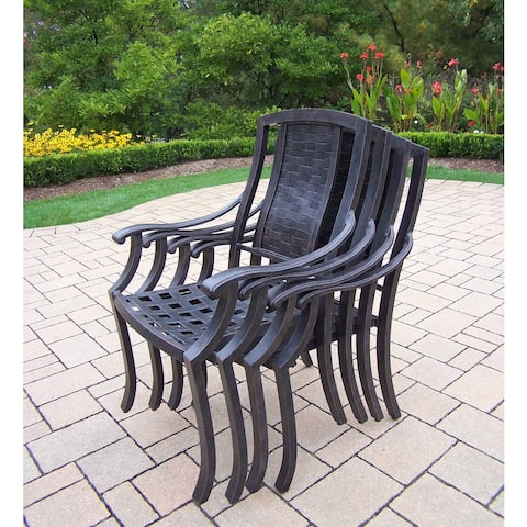 Antique Black Aluminum Stackable High-back Chairs (Pack of 4)