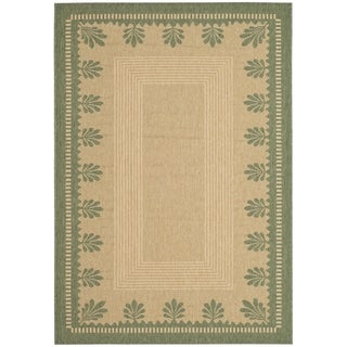 Martha Stewart By Safavieh Palm Border Sand/ Green Indoor/ Outdoor Rug (5u0027