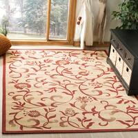 Martha Stewart by Safavieh Swirling Garden Cream/ Red Indoor/ Outdoor Rug - 5' x 8'