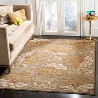 Martha Stewart by Safavieh Floating Dahlia Light Brown Viscose Rug - 6' 7 x 9' 2