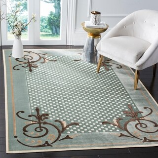 Martha Stewart by Safavieh Scrollwork Blue Viscose Rug - 5' 3 x 7' 6