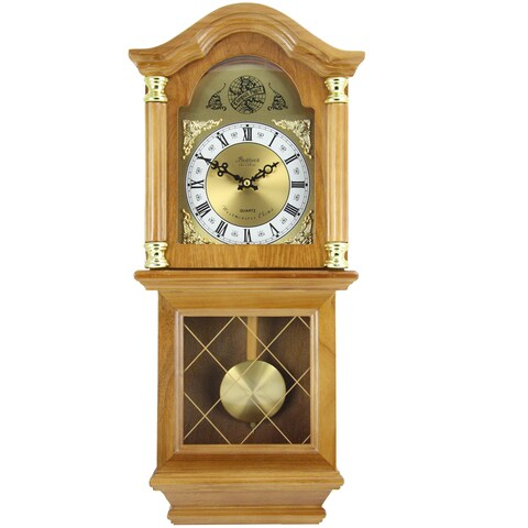Bedford Clock Collection Classic Golden Oak 26-inch Swinging Pendulum Chiming Wall Clock
